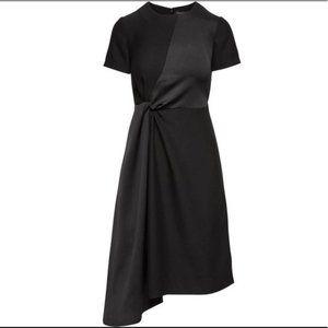 Mixed Media Asymmetric Hem Midi Dress